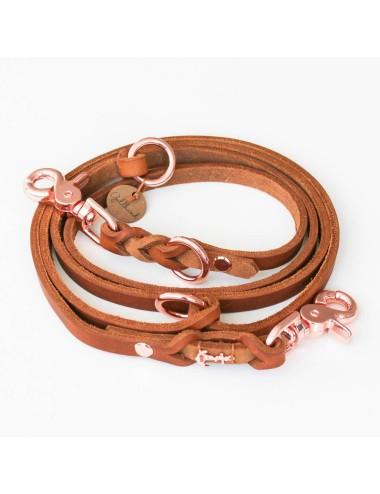 Goldhund Dreifach verstellbare Fettlederleine - cognacfarben / rosé