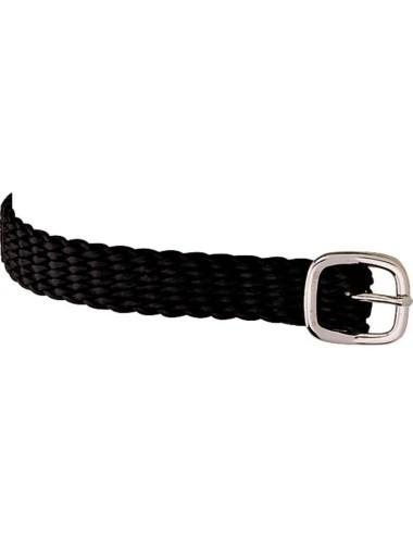 Sprenger Sporenriemen Leder schwarz 45cm Perlon grau