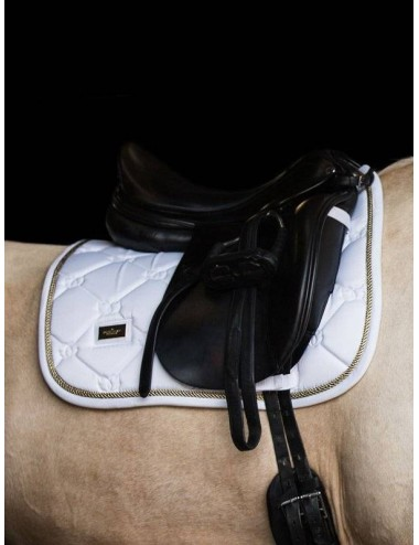 Equestrian Stockholm Dressurschabracke weiss perfection gold