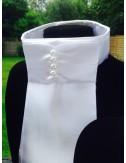 NiEl Plastron white Pearl mit 4 Perlen