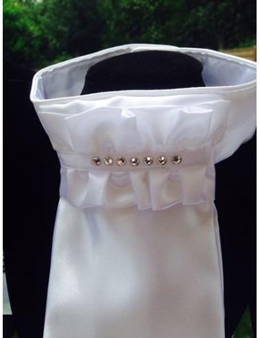 NiEl Plastron Modell white Classic mit 7 Swarovski Kristallen veredelt