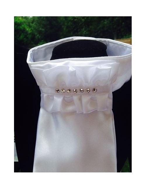 NiEl Plastron Modell white Classic mit Swarovski Kristallen